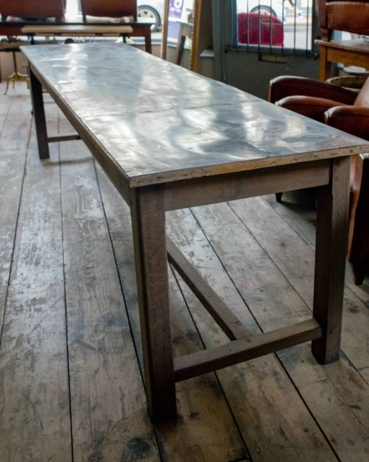 French zinc topped patisserie table in furniture for Table exterieur zinc