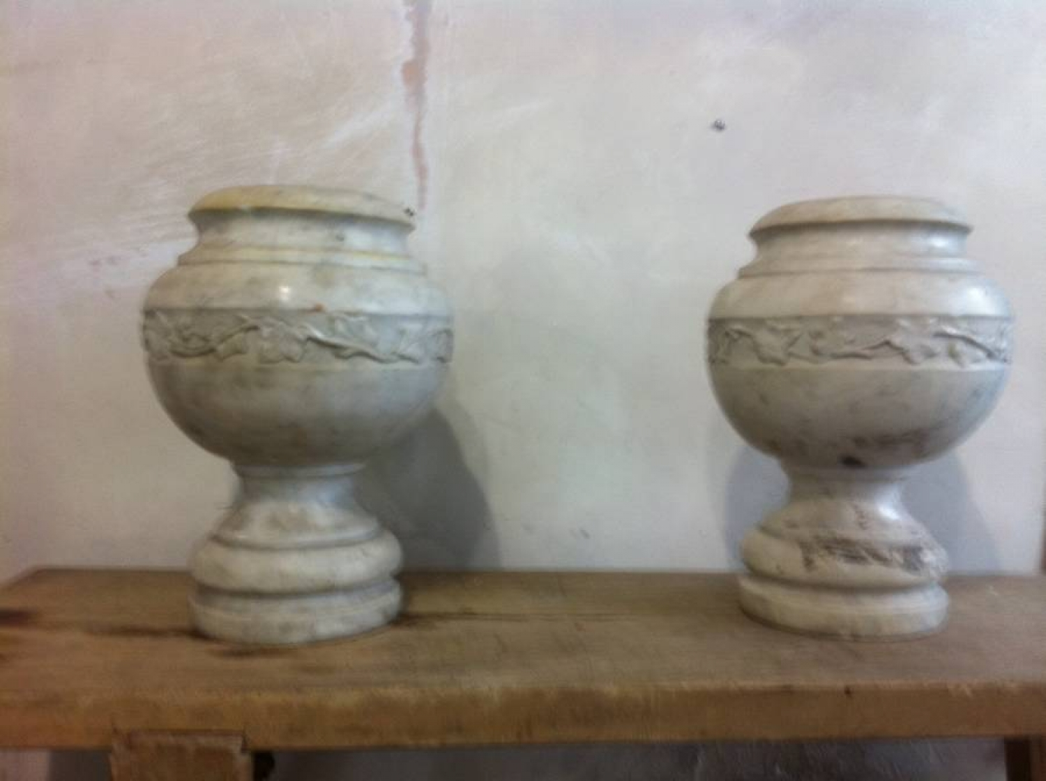 Large Carrara Marble Urns