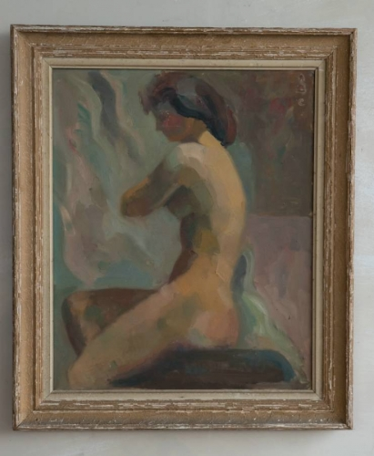 Seated female nude, Oil on Canvas c 1950