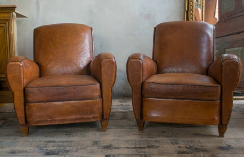 Charming Pair of French Club chairs c 1950