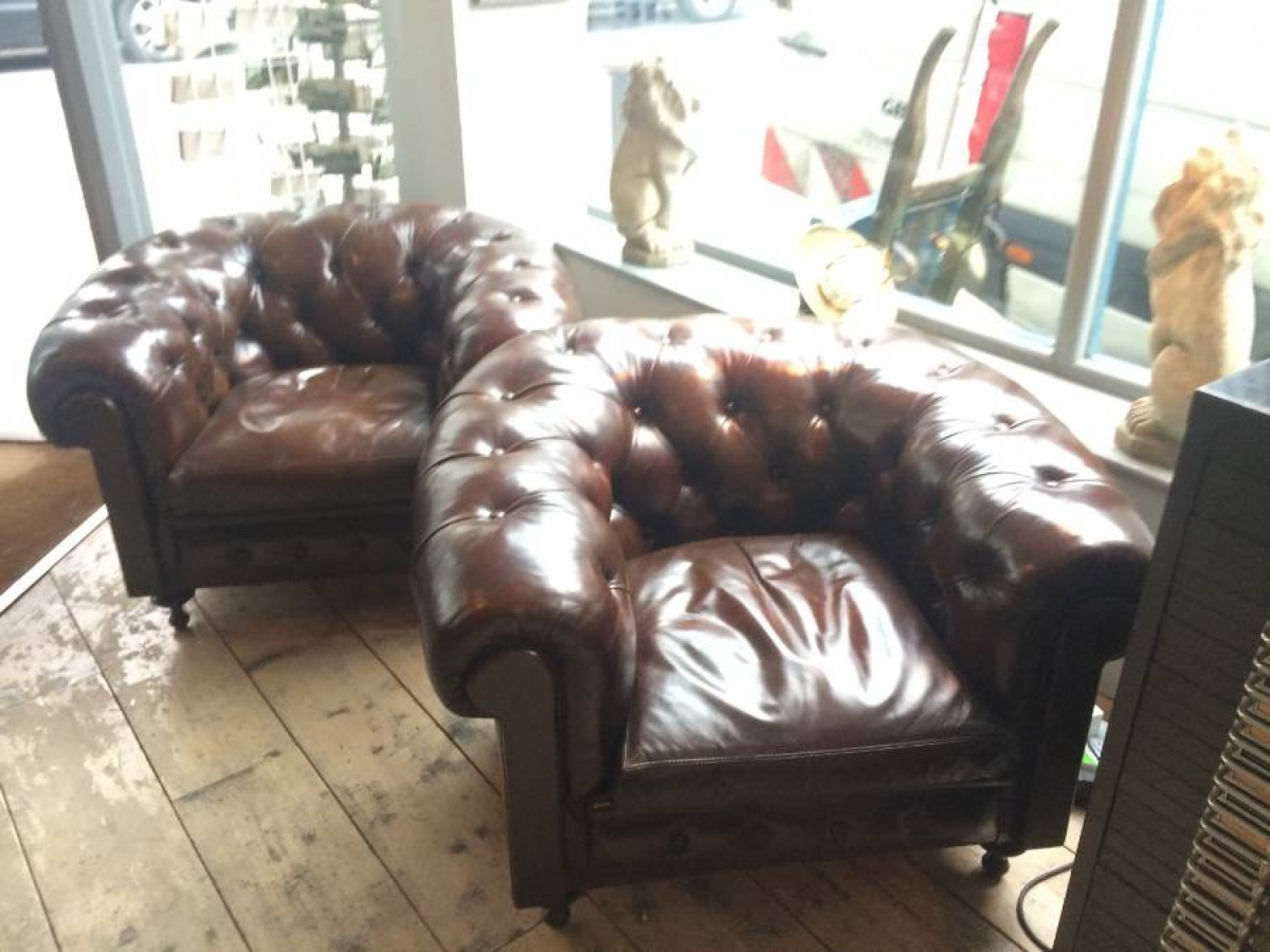 Pair of Brown Chesterield Club armchairs