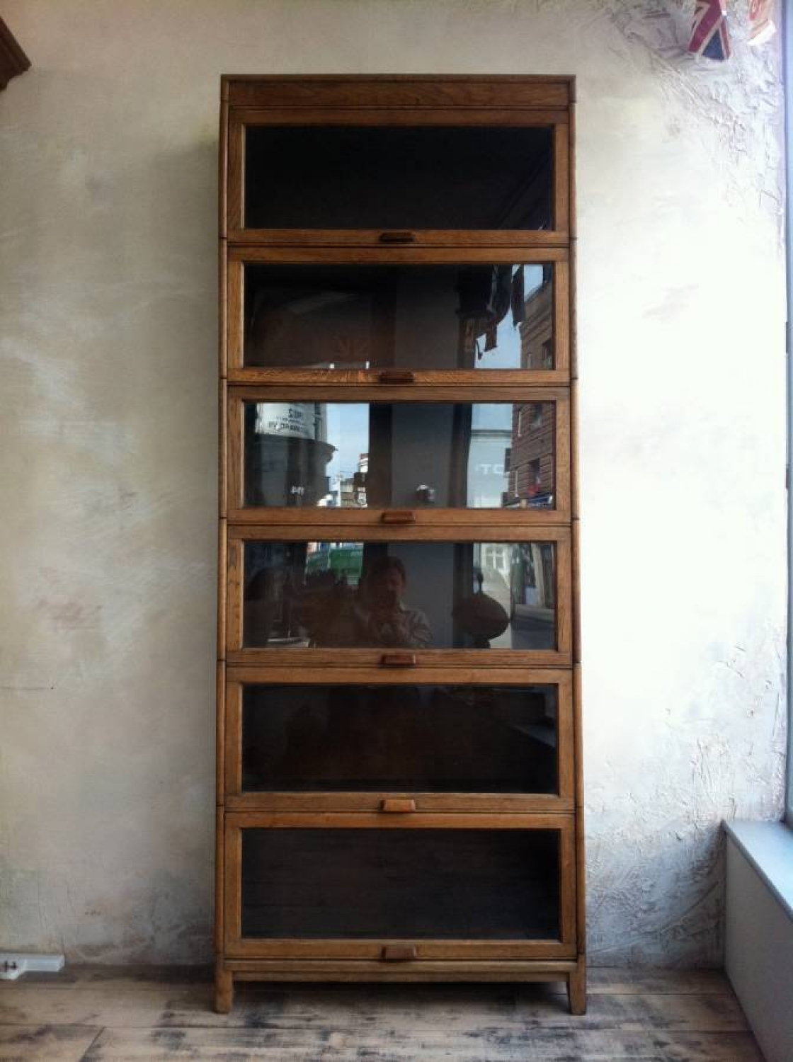 Sectional Oak bookcase by Gunn