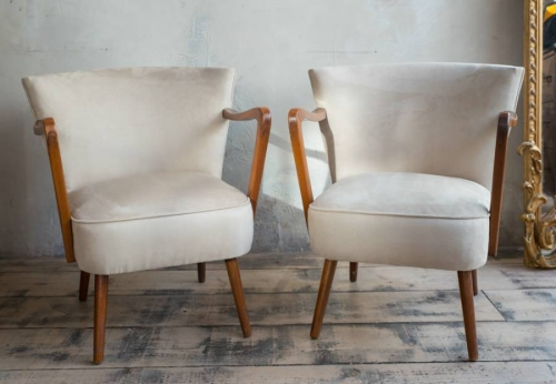 Pair of  German Mid century chairs reupholstered in faux suede chairs