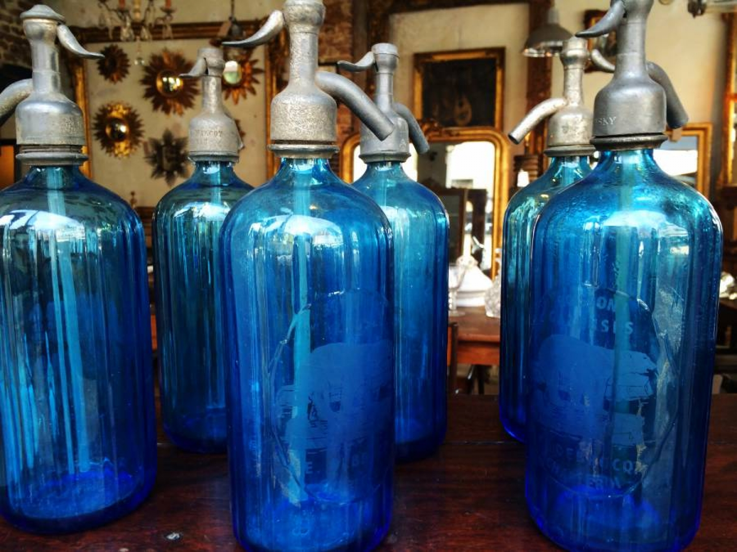 Blue Glass Syphons