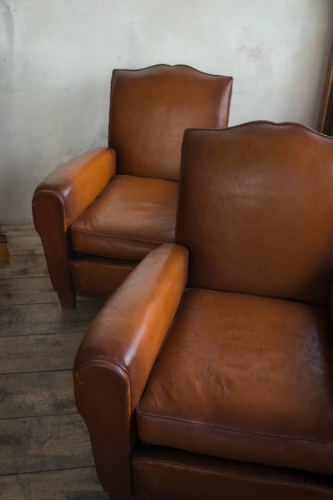 Pair of  Moustache back Leather  Club chairs