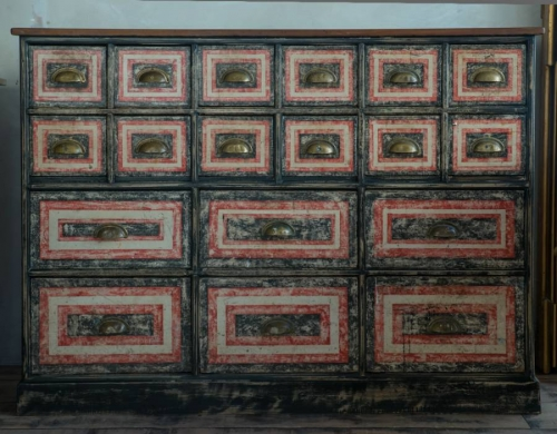Victorian Painted   Bank of Drawers