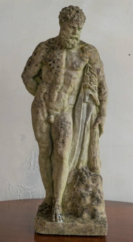 A reconstituted stone figure of Hercules
