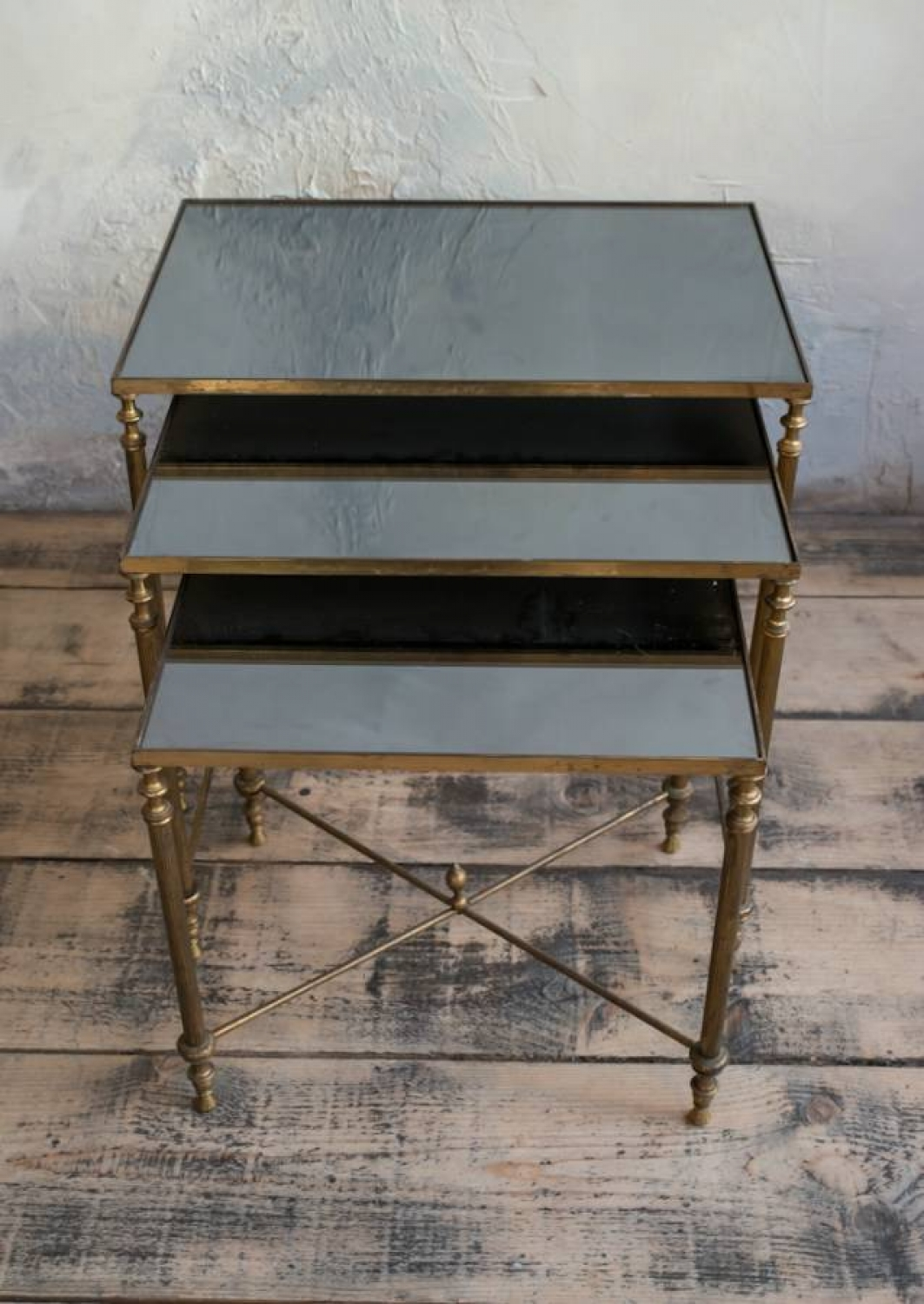 Fabulous nest of 3 French Brass & Glass tables