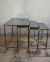 Fabulous nest of 3 French Brass & Glass tables - picture 3