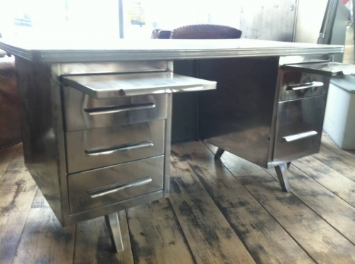 Polished Steel 1950`s French Desk Vintage Industrial