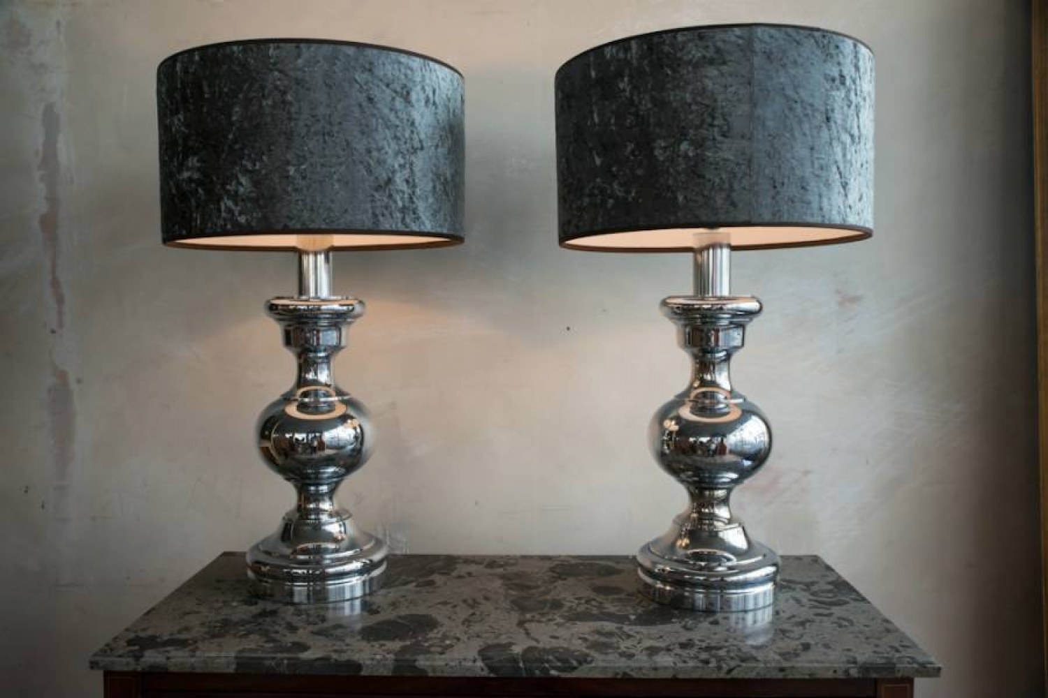 Pair of Italian polished chrome lamps C 1970