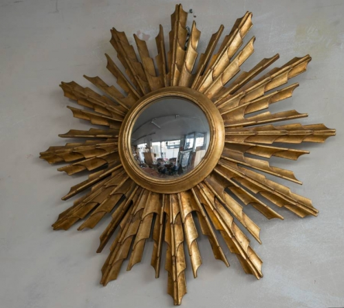 Large Carved Wood Sunburst Mirror C 1950