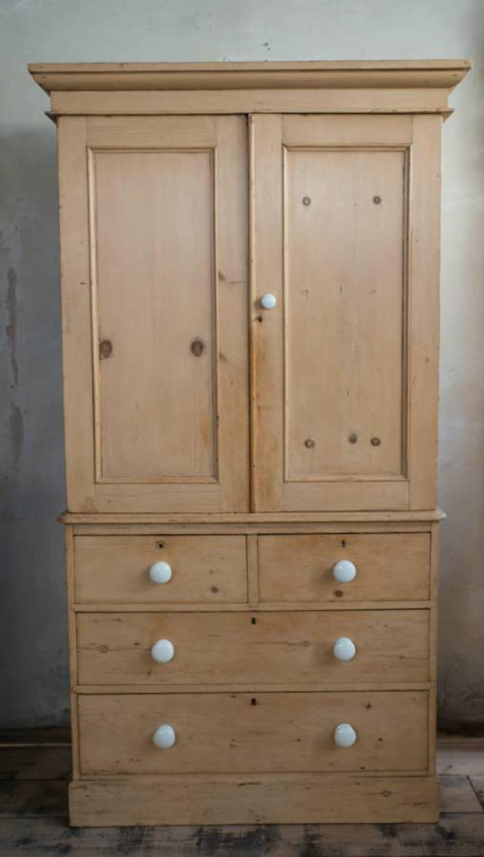 Mid Victorian Pine Linen Press In Furniture