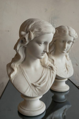 Two Copeland Parian Spring & Summer Busts