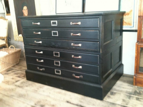 Vintage Ebonised  Oak plan chest