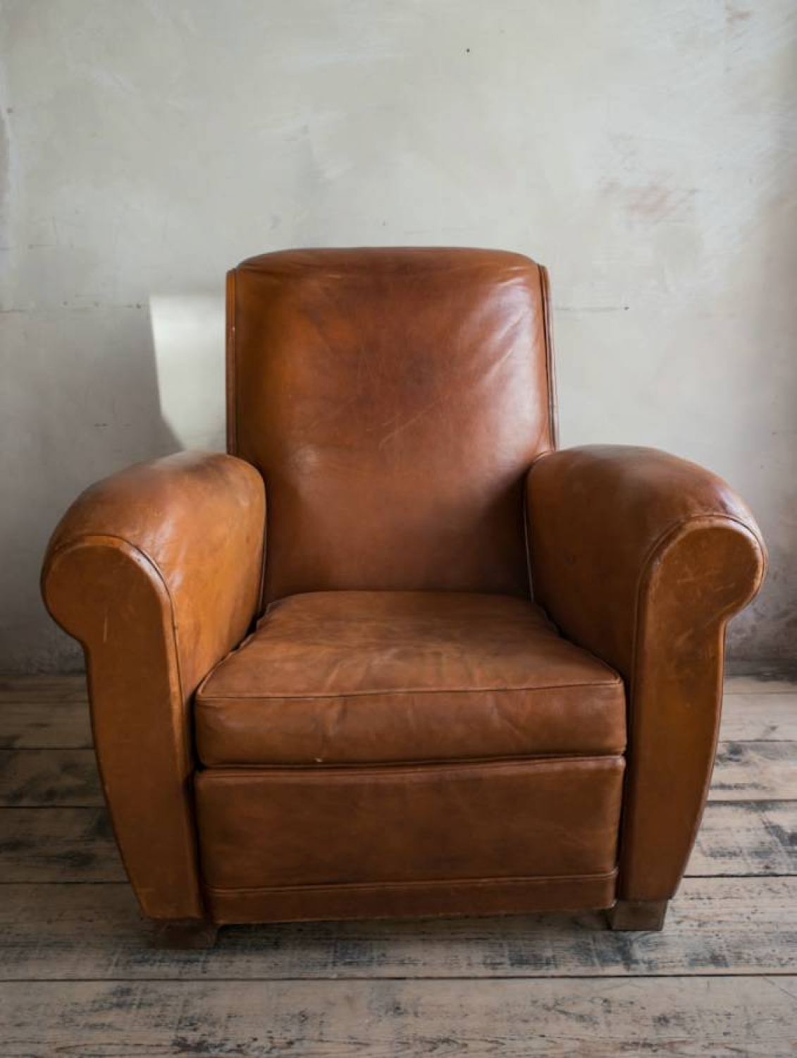 Brown leather   Club armchair  C 1950