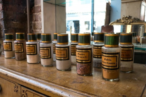 Set of  Amber Glass Apothecary Bottles