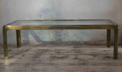 1970`s Brass and Clear Glass Coffee Table