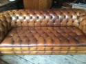 Tan Leather Chesterfield Sofa - picture 1