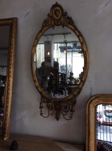 Adam style gilt wood girandole mirror