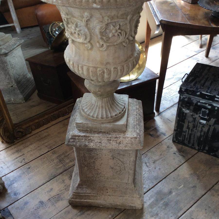 Stone (reconstituted) urn and pedestal
