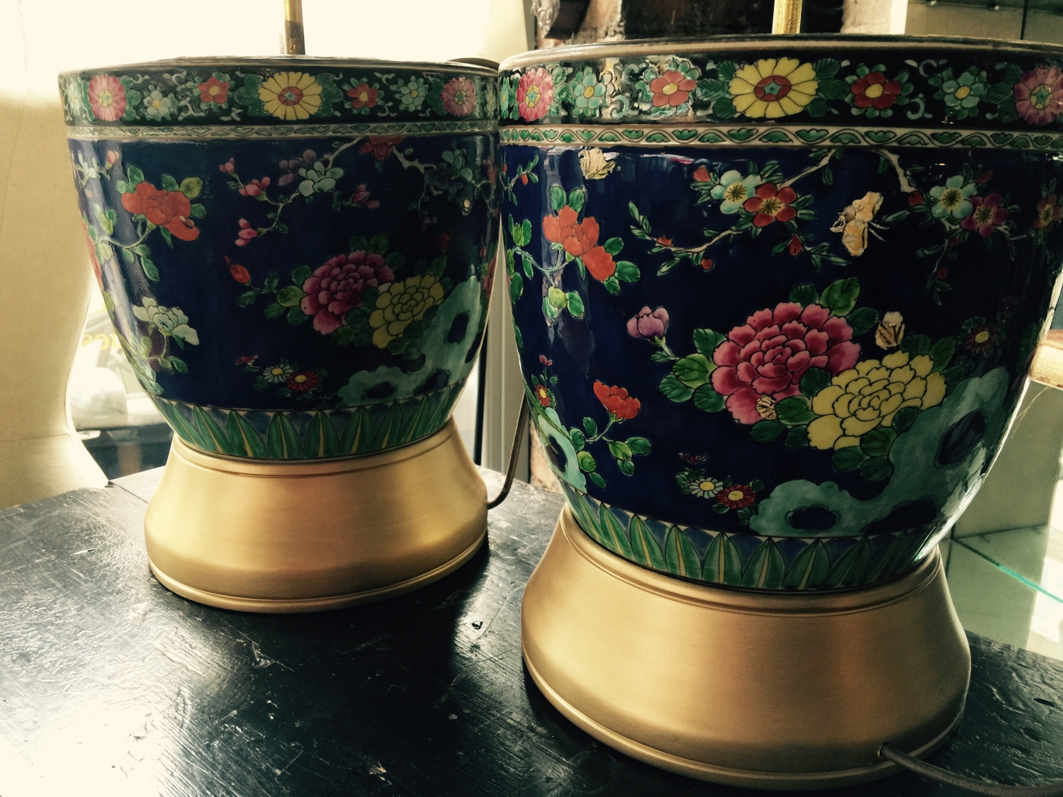 Pair of Chinese polychrome porcelain lamps