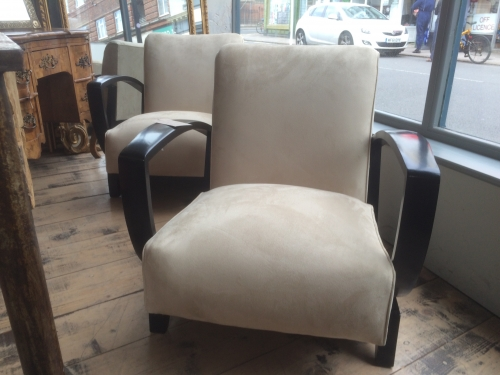 Pair of French Art Deco Open Armchairs