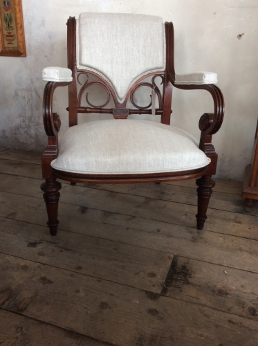 Unusual French open armchair