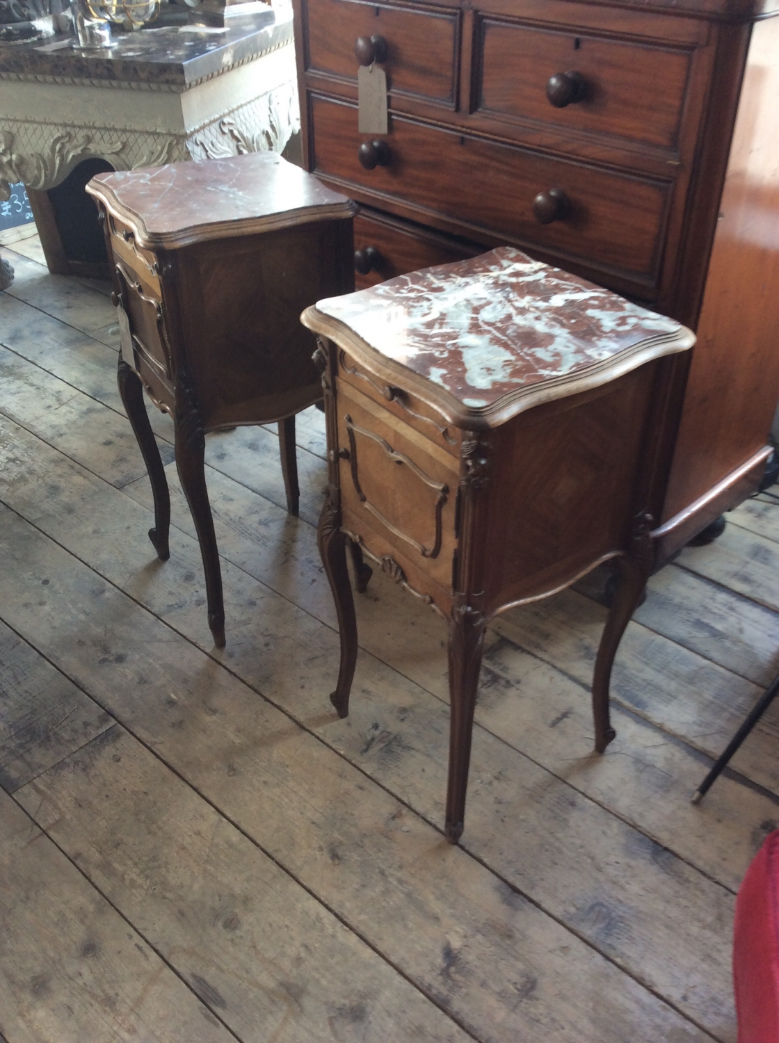 Pair of French marble top bedside cabinets