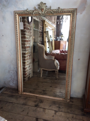 French gilt wood overmantle mirror c1870