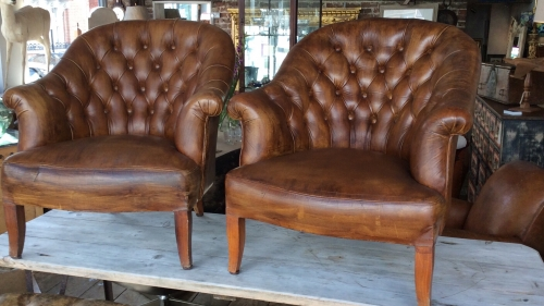 Pair of chesterfield leather chairs