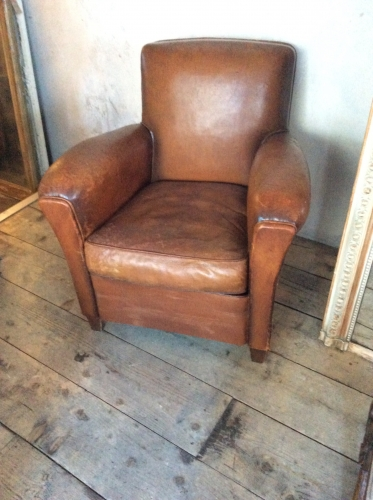 Single Tan Leather Club chair