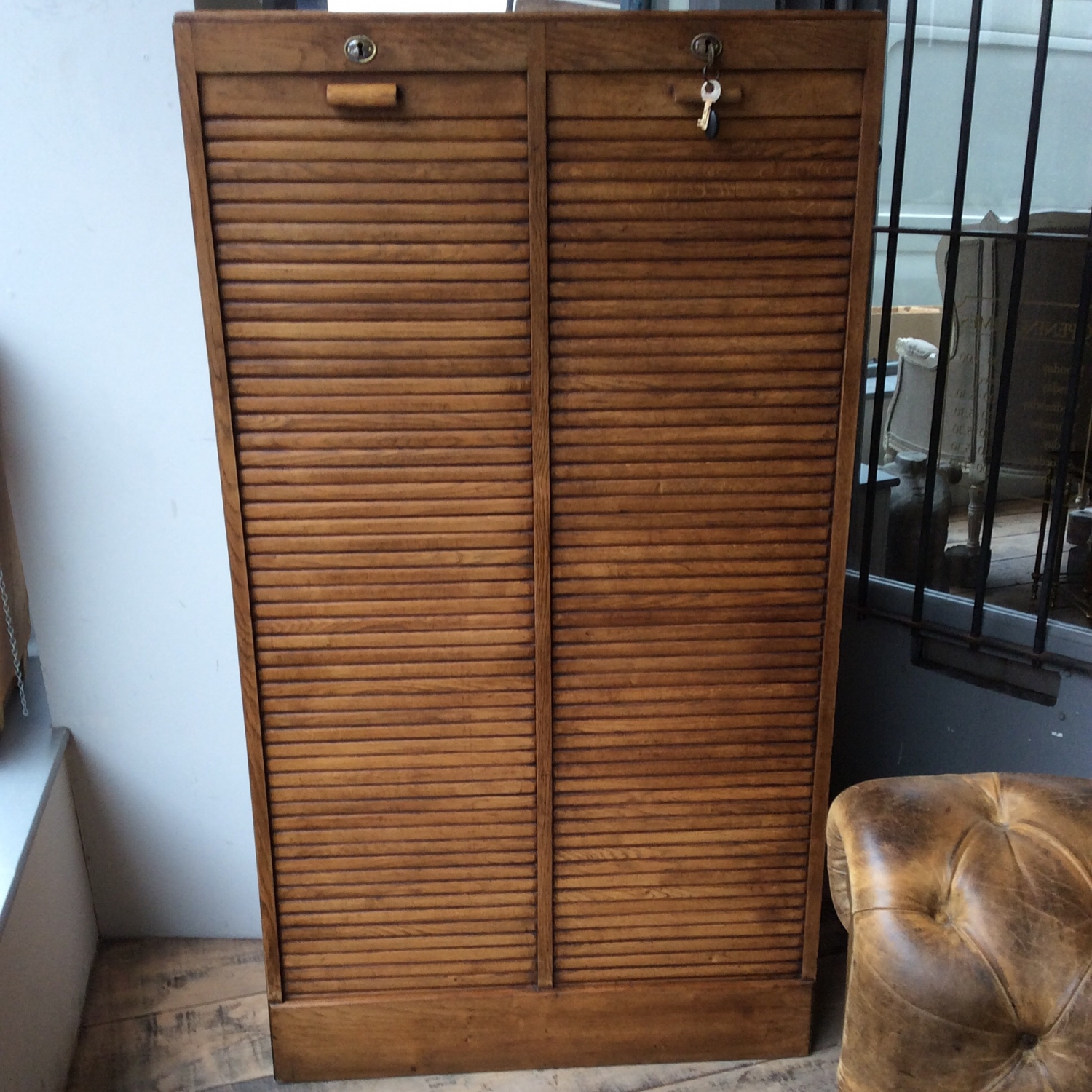 Vintage French Tambour Cabinet