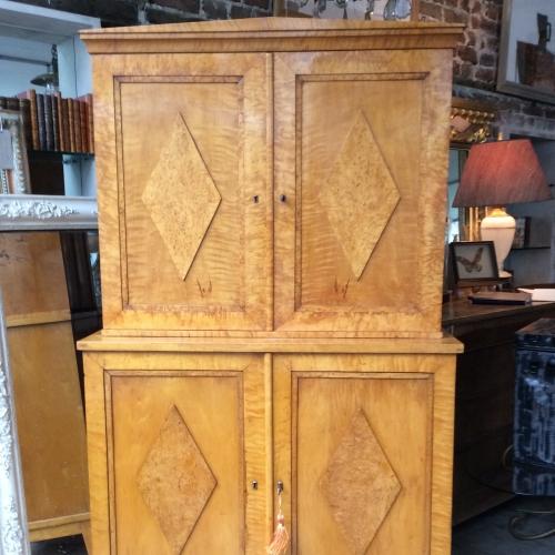 Biedermeier Karelian Birchwood Cabinet