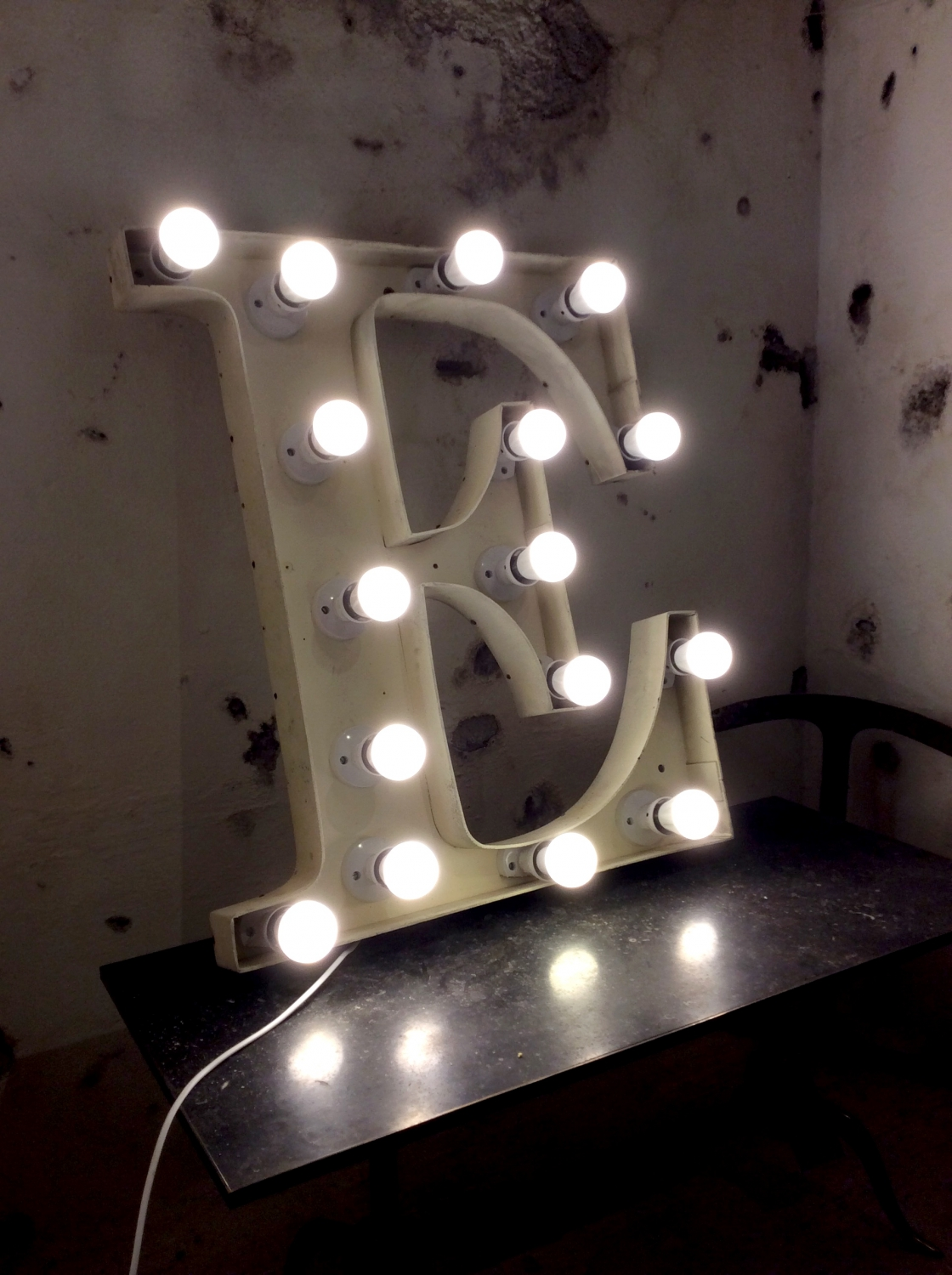 Giant Neon French Vinatege Letter E