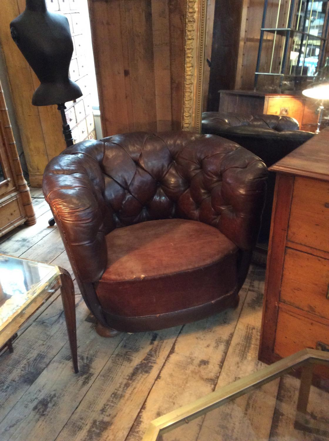 Swedish Brown Leather Club Chair