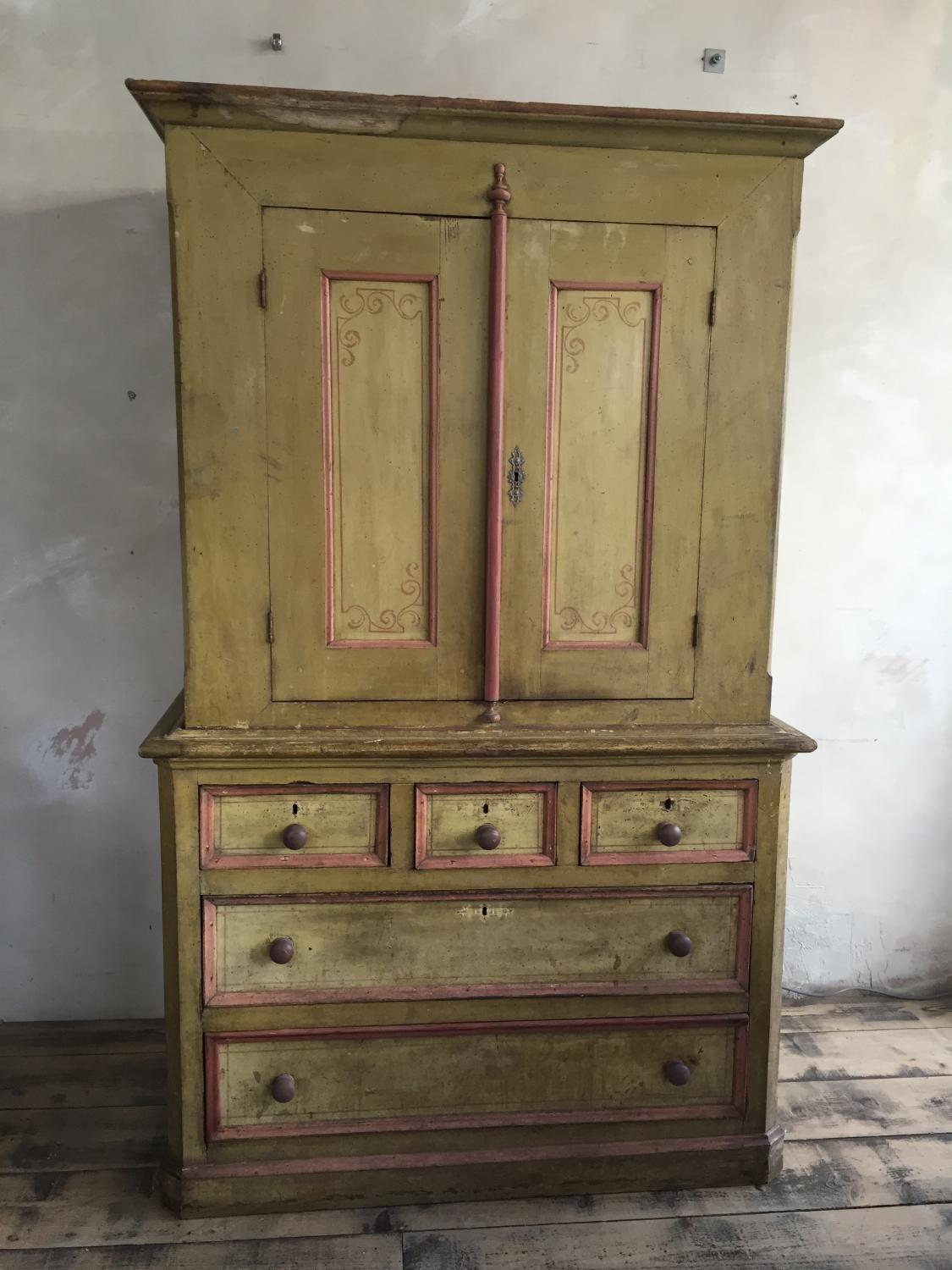 Early 19th C French Painted linen press