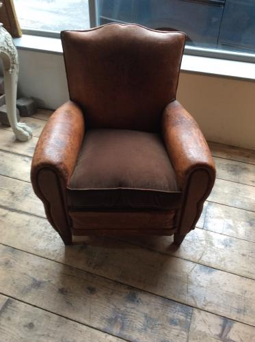 Moustache Back Leather Club Chair with Velvet