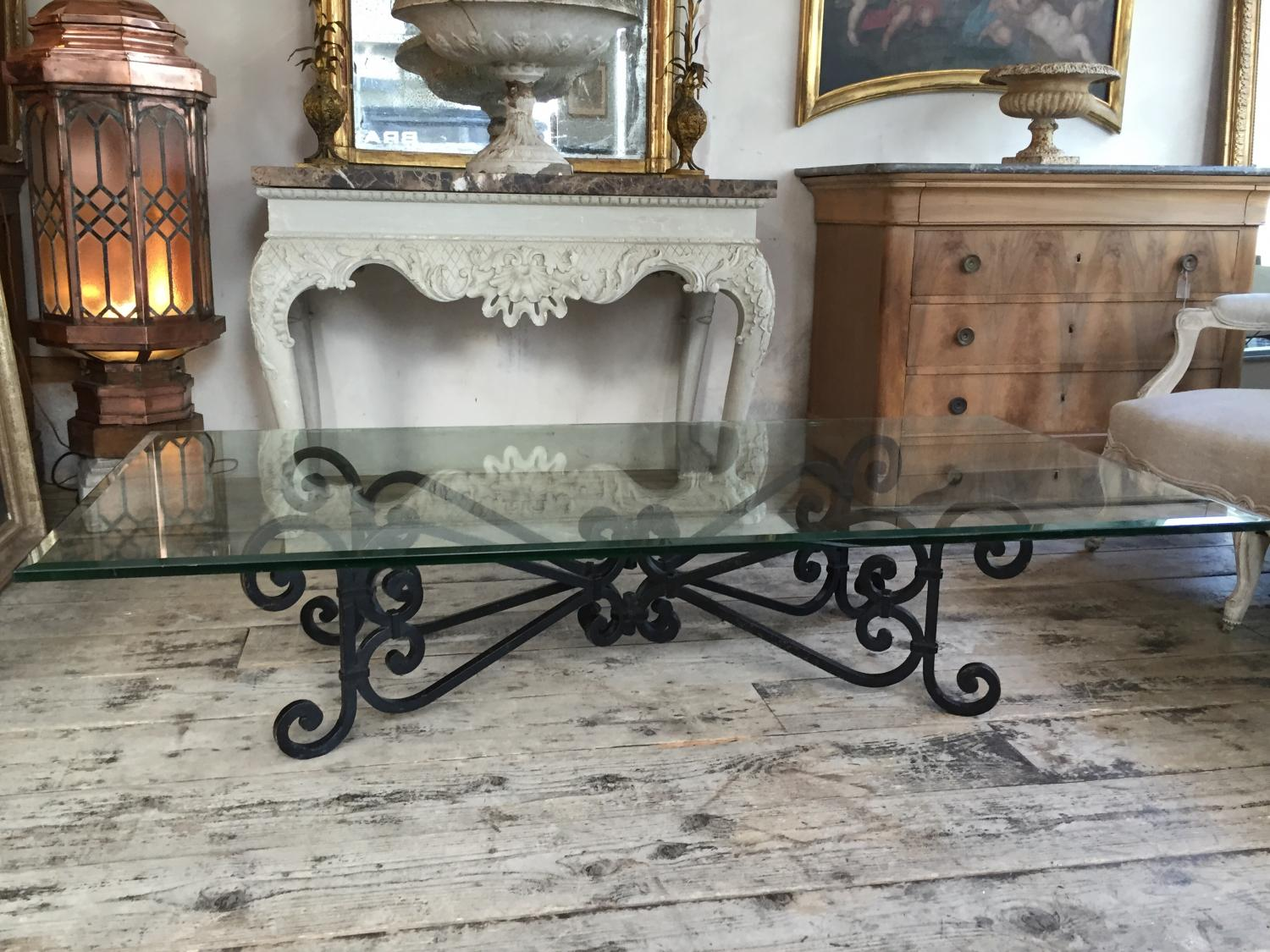 Large 1940s Glass & Iron Coffee Table