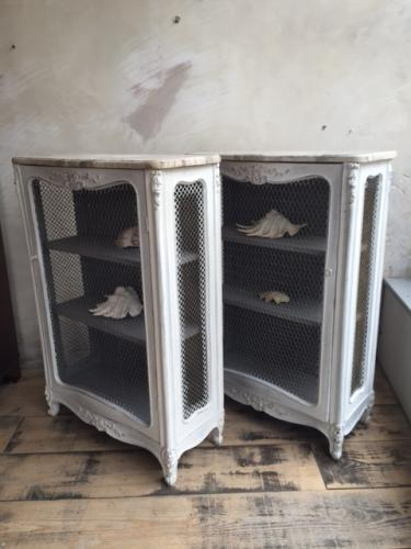 French Louis XV Marble Topped Pier Cabinets