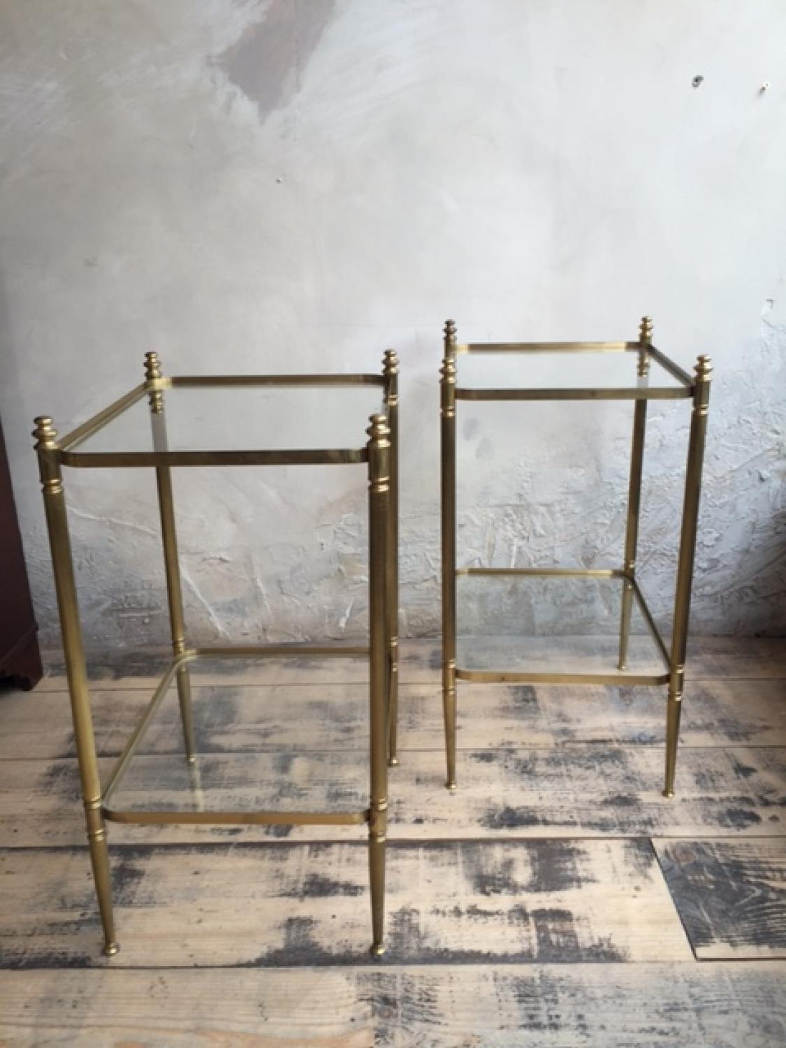 Brass & Glass French Side Tables 1950s