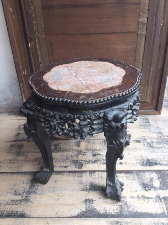 Chinese Padouk Wood & Hard Stone Stand 19thC