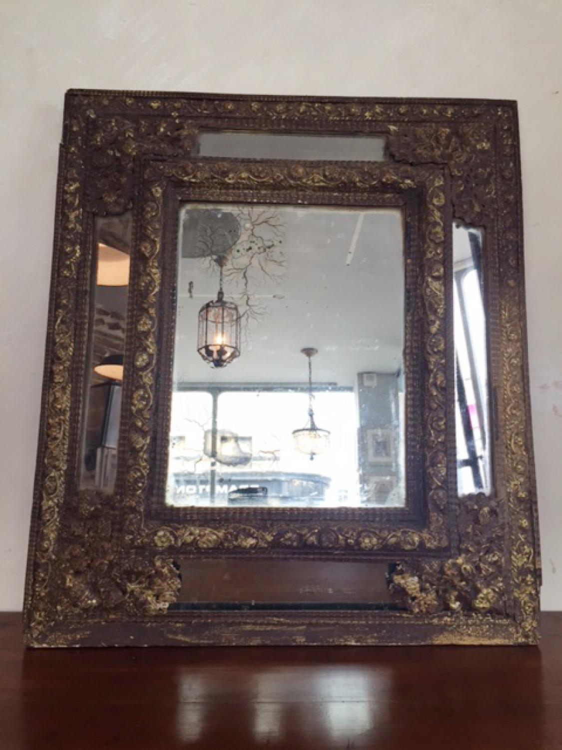 French Repoussé Metal Cushion Frame Mirror