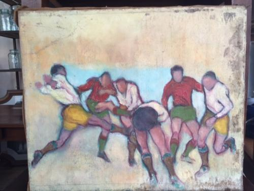 1950's Oil On Canvas Soccer Match