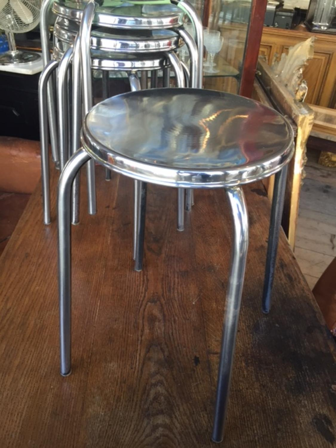 Industrial Polished Steel Stools