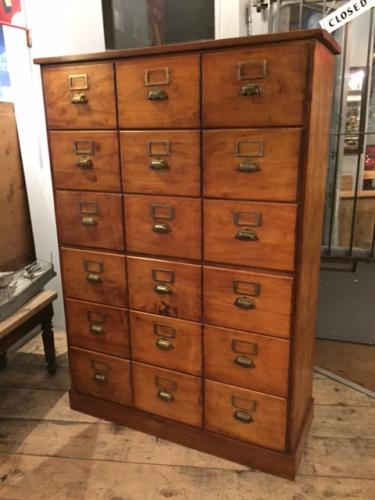 Bank of Fruitwood Drawers