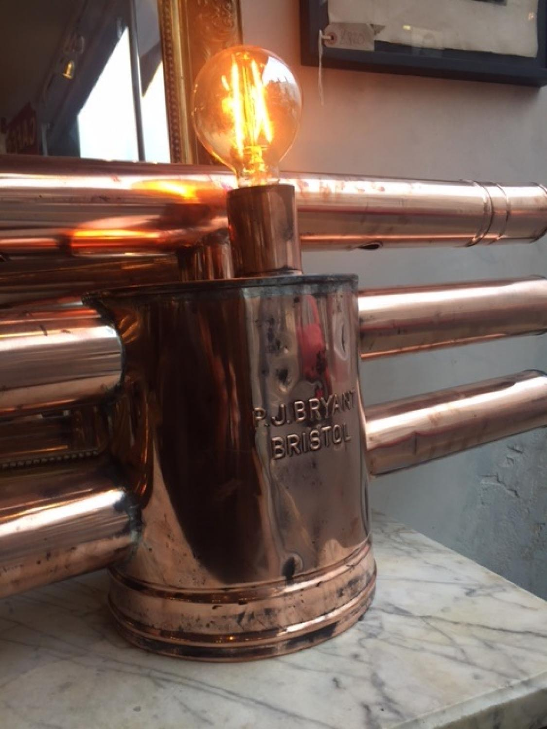 Pair of Industrial Copper Lights