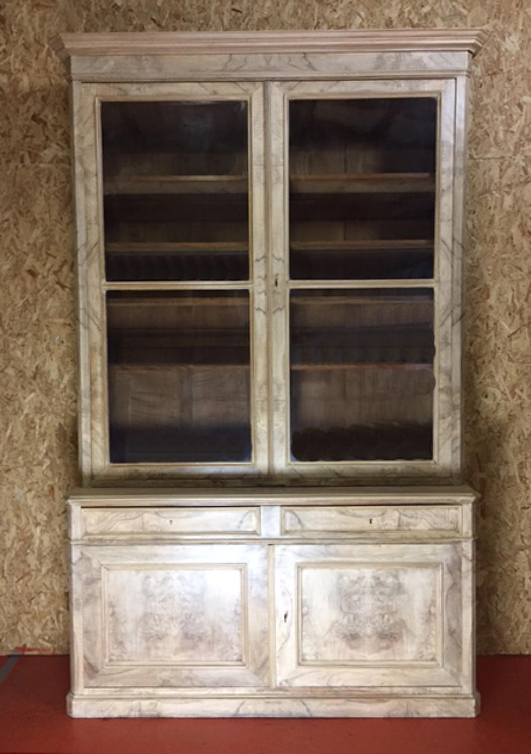Large Louis Philippe Burr Walnut Bookcase