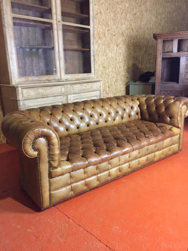 Deep Buttoned Tan Leather Chesterfield