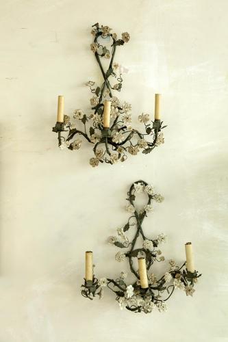 Porcelain  floral wall lights
